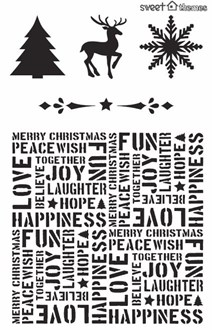 Christmas Words Background and Symbols  Stencil